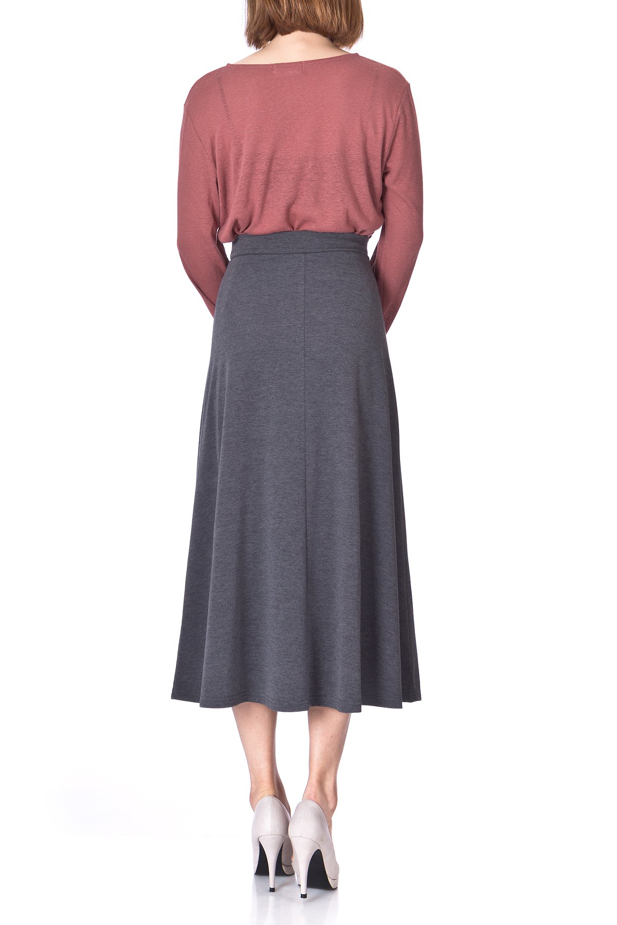 Plain Beauty Casual Office High Waist A line Full Flared Swing Skater Maxi Long Skirt Charcoal 05 1
