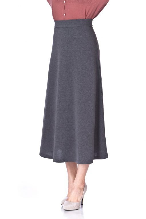 Plain Beauty Casual Office High Waist A line Full Flared Swing Skater Maxi Long Skirt Charcoal 06 1