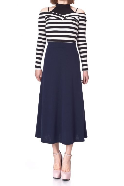Plain Beauty Casual Office High Waist A line Full Flared Swing Skater Maxi Long Skirt Navy 01 1