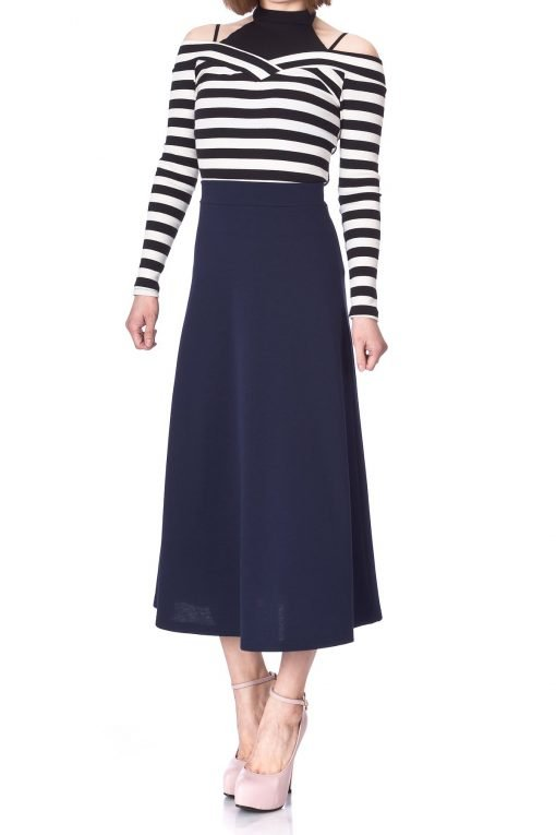 Plain Beauty Casual Office High Waist A line Full Flared Swing Skater Maxi Long Skirt Navy 02 1