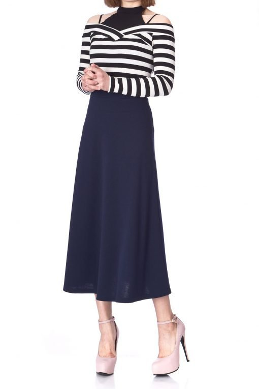 Plain Beauty Casual Office High Waist A line Full Flared Swing Skater Maxi Long Skirt Navy 03 1