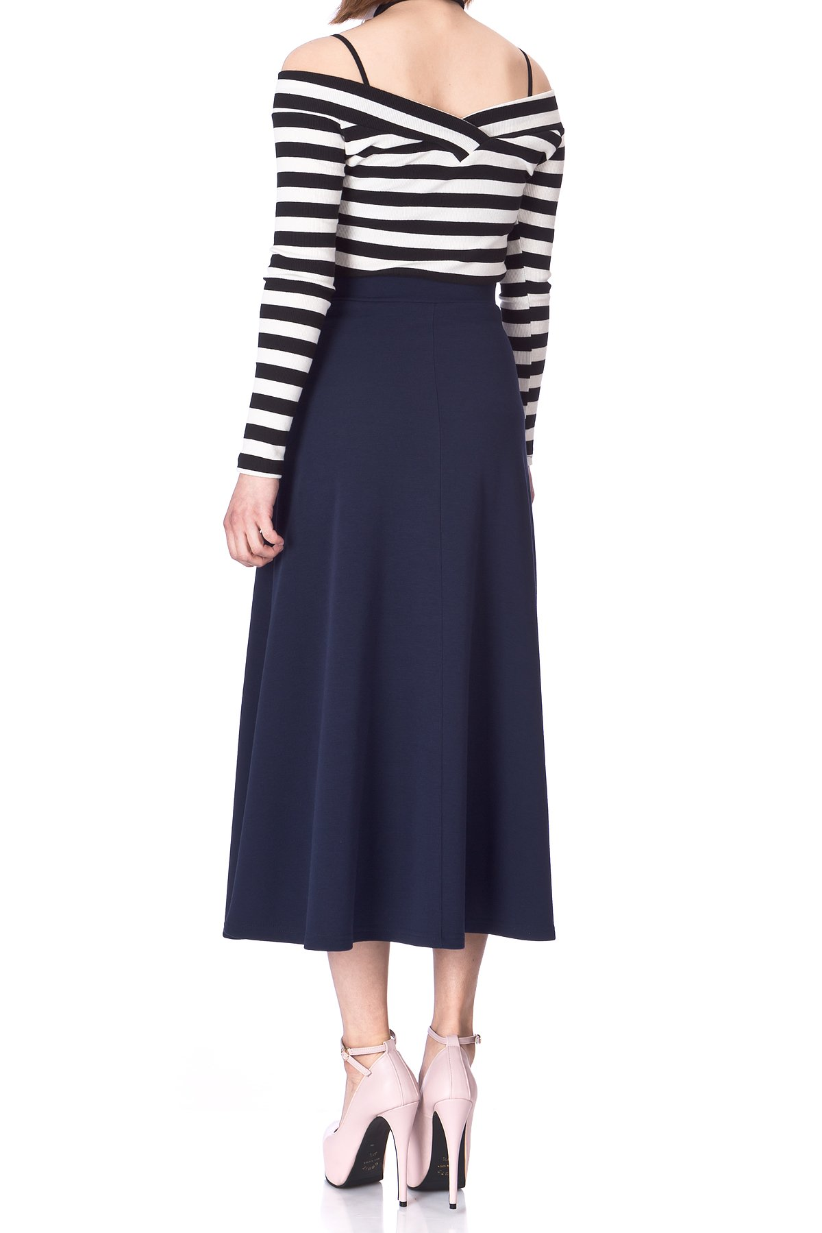 Plain Beauty Casual Office High Waist A line Full Flared Swing Skater Maxi Long Skirt Navy 04 1