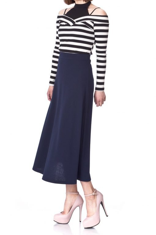 Plain Beauty Casual Office High Waist A line Full Flared Swing Skater Maxi Long Skirt Navy 05 1