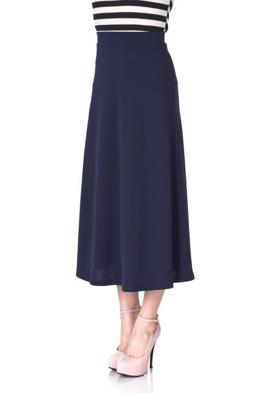 Plain Beauty Casual Office High Waist A line Full Flared Swing Skater Maxi Long Skirt Navy 06 1