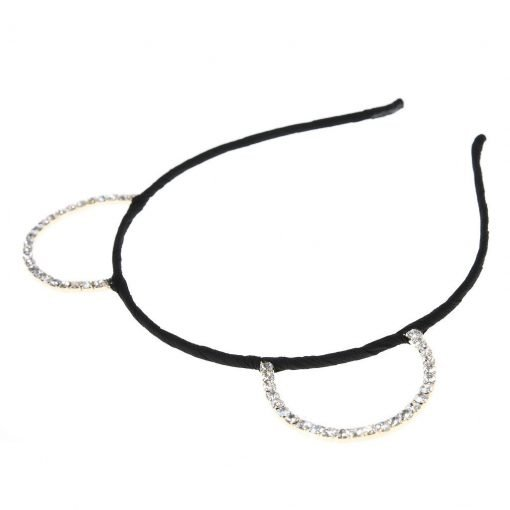 Rhinestone Bear Ear Candy Color Headband Black 2