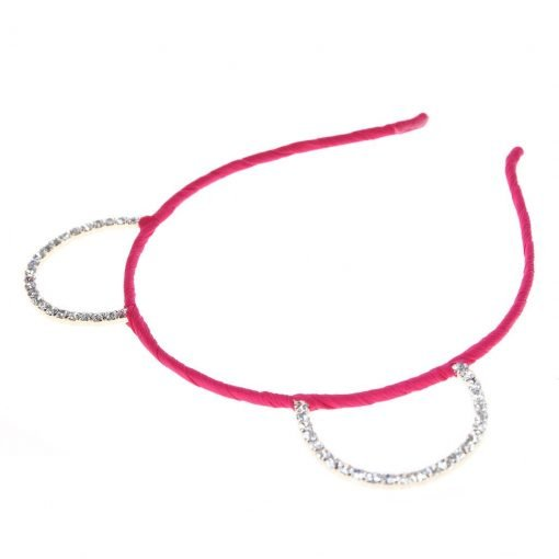 Rhinestone Bear Ear Candy Color Headband Hot Pink 2