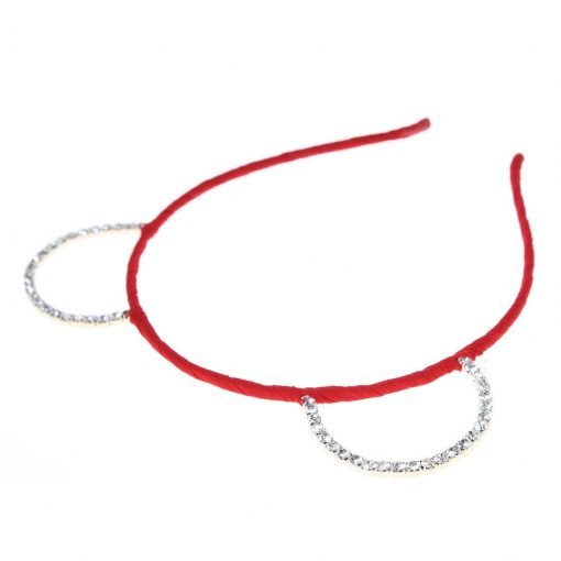 Rhinestone Bear Ear Candy Color Headband Red 2