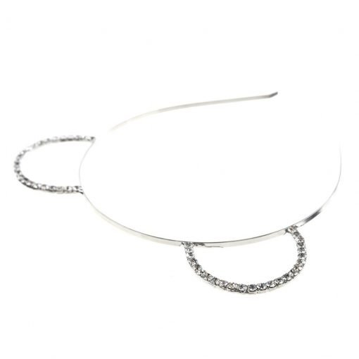 Rhinestone Bear Ear Steel Headband Silver 1