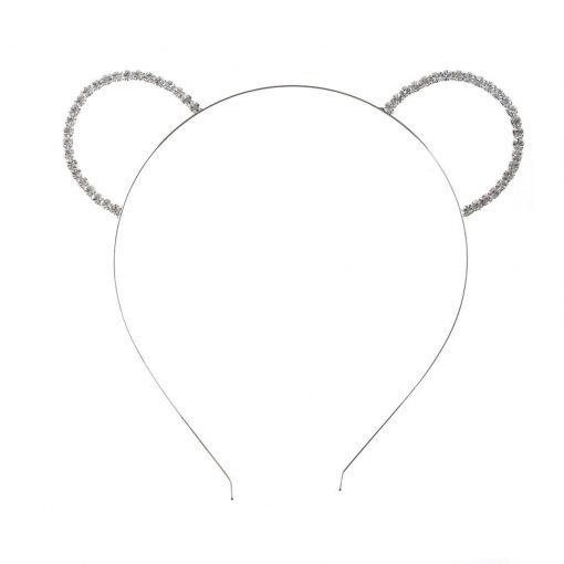 Rhinestone Bear Ear Steel Headband Silver 2