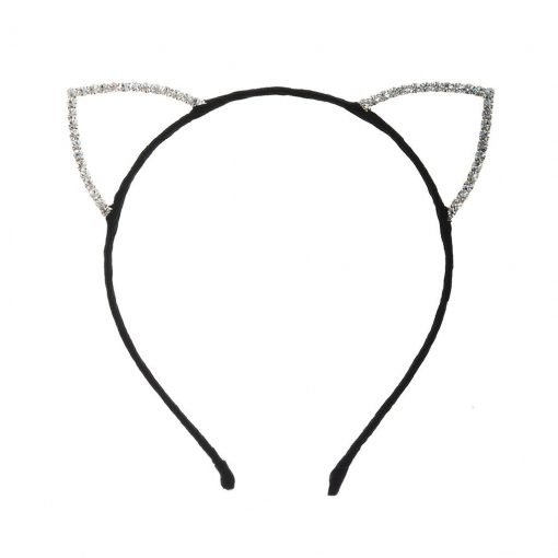 Rhinestone Cat Ear Candy Color Headband Black 11