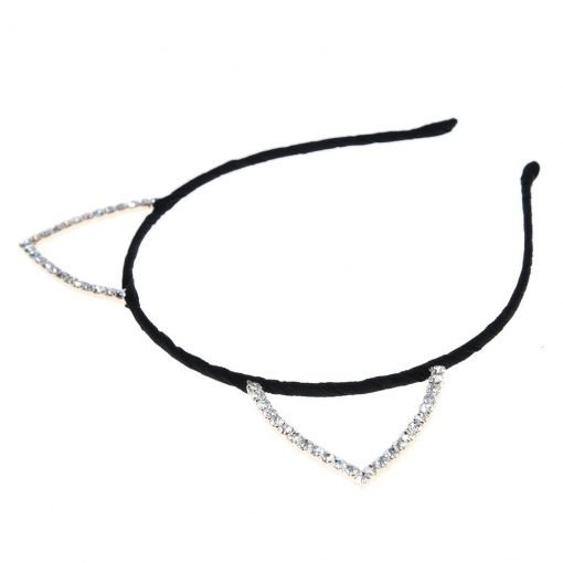 Rhinestone Cat Ear Candy Color Headband Black 21