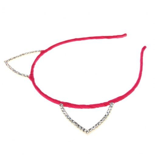 Rhinestone Cat Ear Candy Color Headband Hot Pink 2