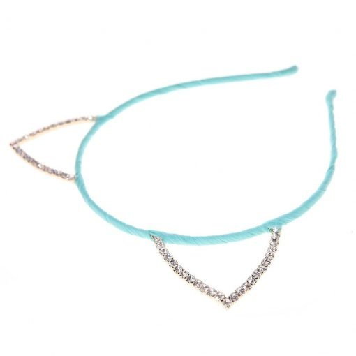 Rhinestone Cat Ear Candy Color Headband Mint 2
