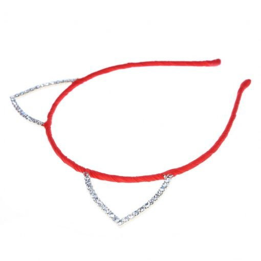 Rhinestone Cat Ear Candy Color Headband Ornage 2