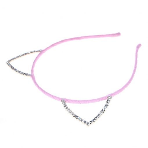 Rhinestone Cat Ear Candy Color Headband Pink 2