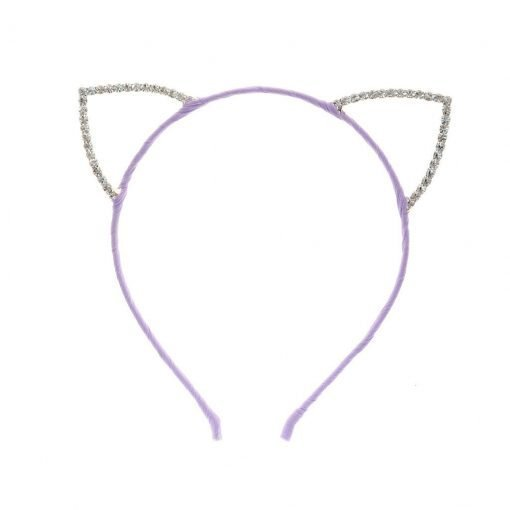 Rhinestone Cat Ear Candy Color Headband Purple 1