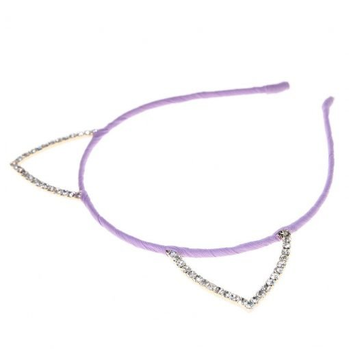 Rhinestone Cat Ear Candy Color Headband Purple 2