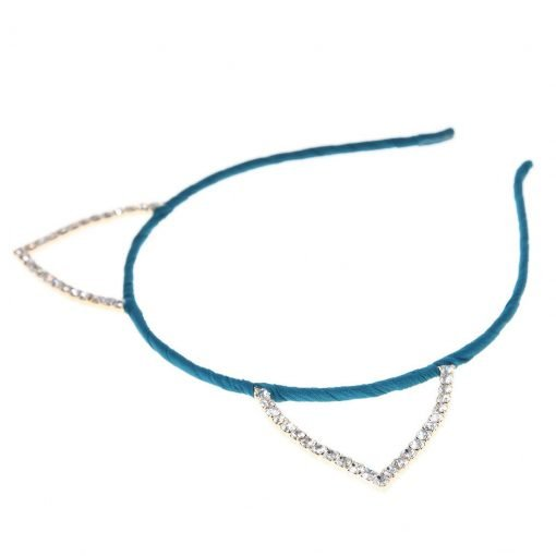 Rhinestone Cat Ear Candy Color Headband Turquoise 2