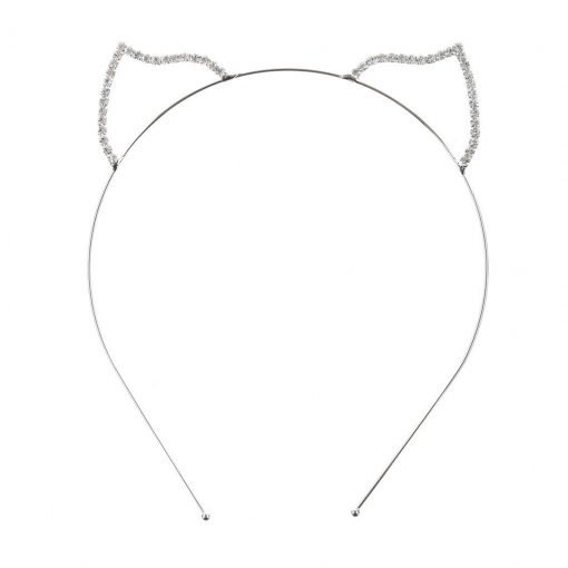 Rhinestone Fox Ear Steel Headband Silver 2