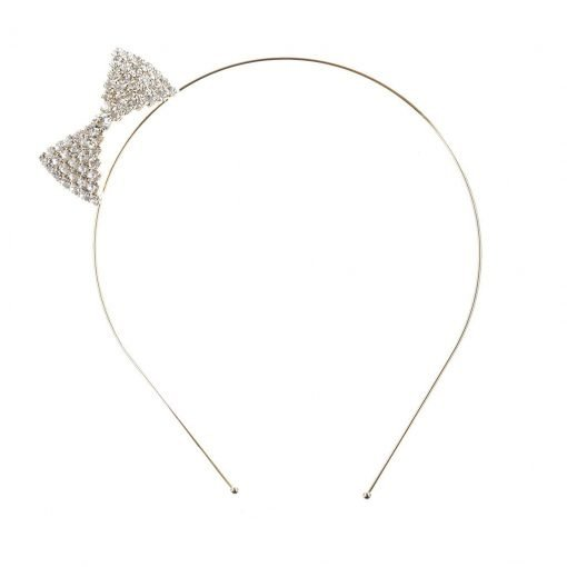 Rhinestone Ribbon Steel Headband Gold 2