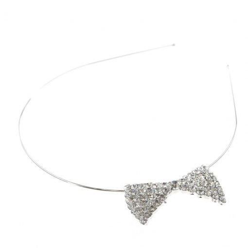 Rhinestone Ribbon Steel Headband Silver 1