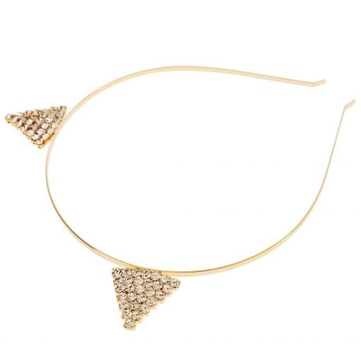 Rhinestone Devil Horn Steel Headband Gold 1