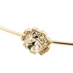 Rhinestone Flowers Steel Headband Gold 2