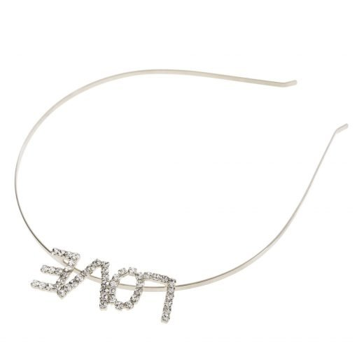 Rhinestone Love Steel Headband Silver 1 Re