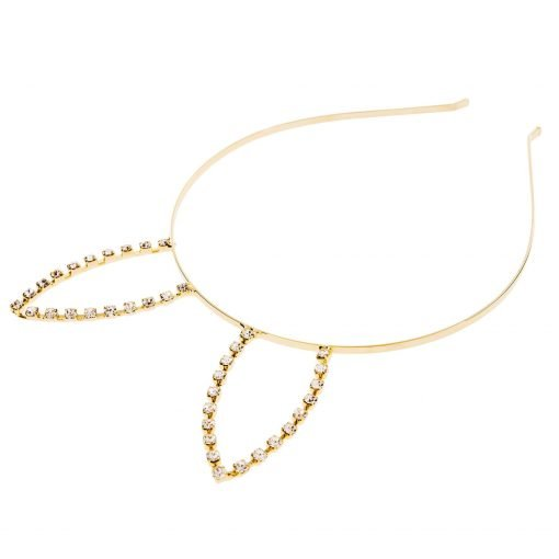 Rhinestone Rabbit Ear Steel Headband Gold 1