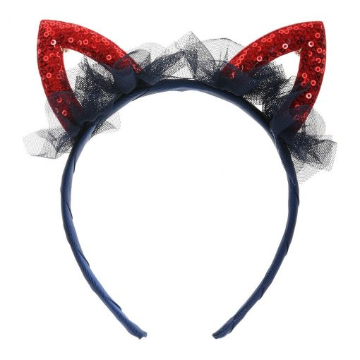 Sequined Cat Ear Headband Navy 1