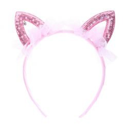 Sequined Cat Ear Headband Pink 1