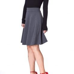 Simple Stretch A line Flared Knee Length Skirt Charcoal 1 1