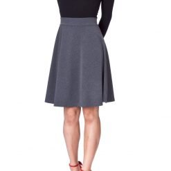 Simple Stretch A line Flared Knee Length Skirt Charcoal 2 1