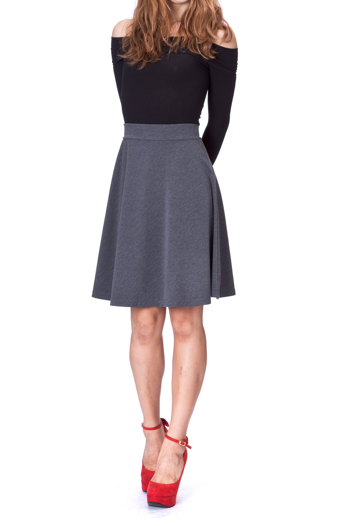 Simple Stretch A line Flared Knee Length Skirt Charcoal 2