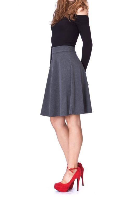 Simple Stretch A line Flared Knee Length Skirt Charcoal 3 1