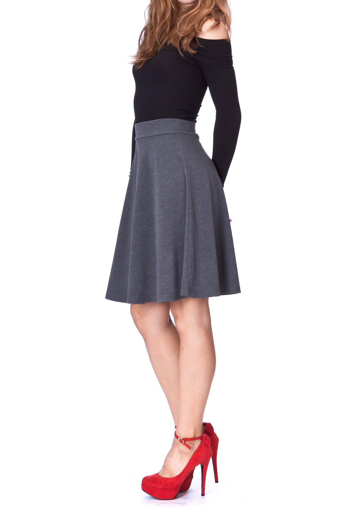Simple Stretch A line Flared Knee Length Skirt Charcoal 3