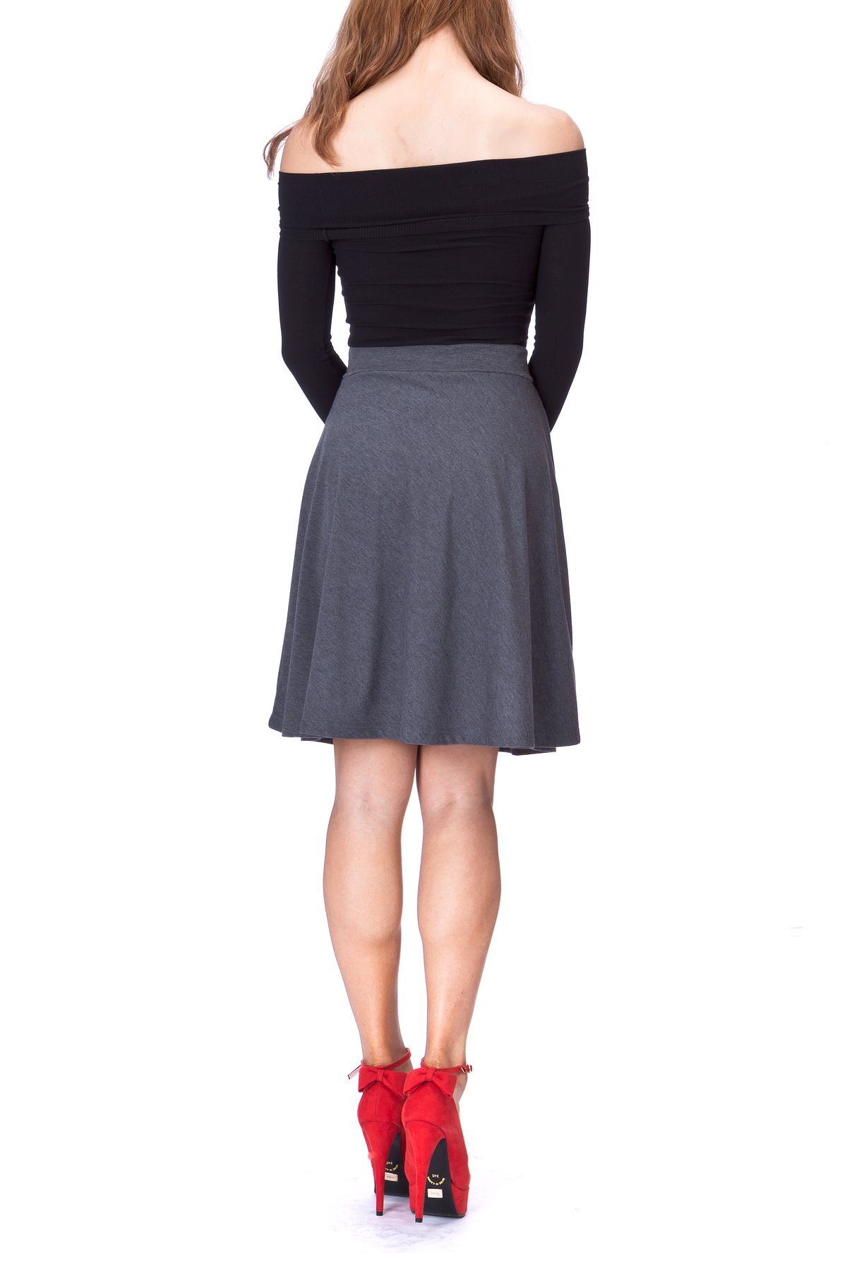 Simple Stretch A line Flared Knee Length Skirt Charcoal 4