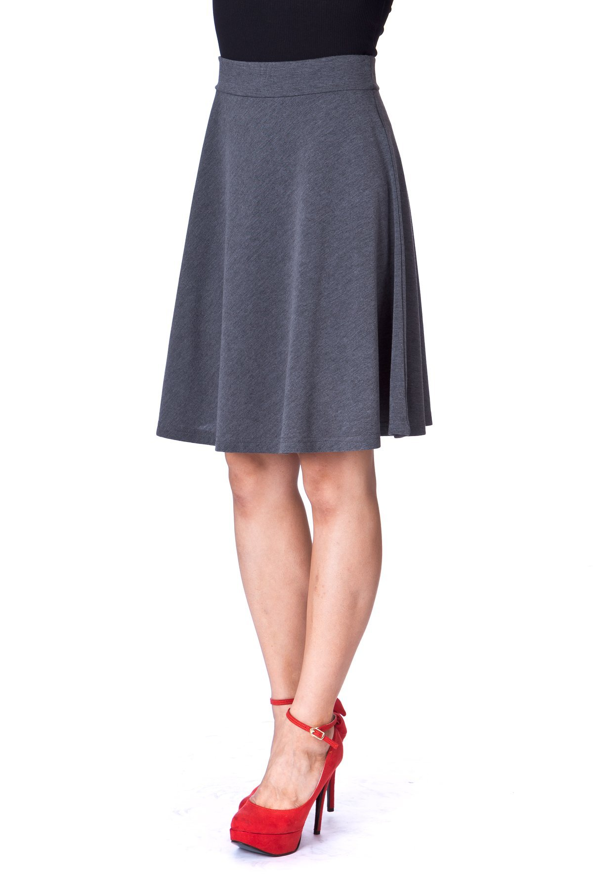 Simple Stretch A line Flared Knee Length Skirt Charcoal 5