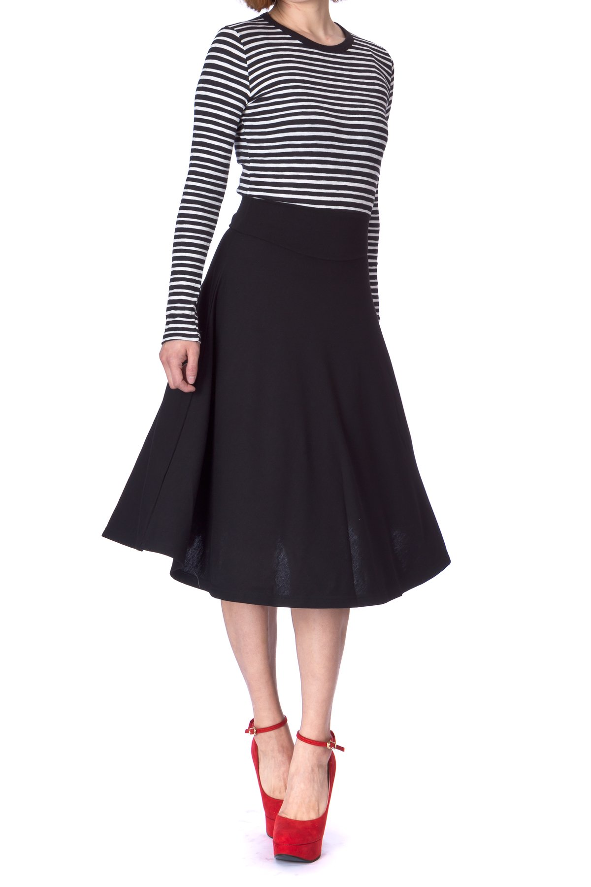 Stretch High Waist A line Flared Long Skirt Black 01