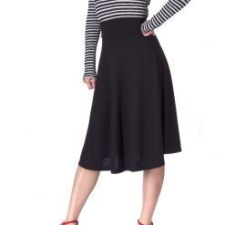 Stretch High Waist A line Flared Long Skirt Black 02 1