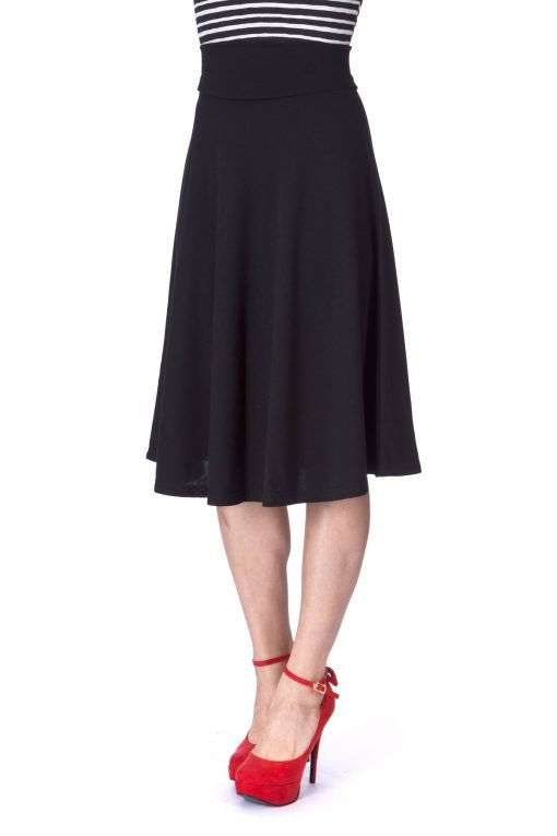 Stretch High Waist A line Flared Long Skirt Black 07 1