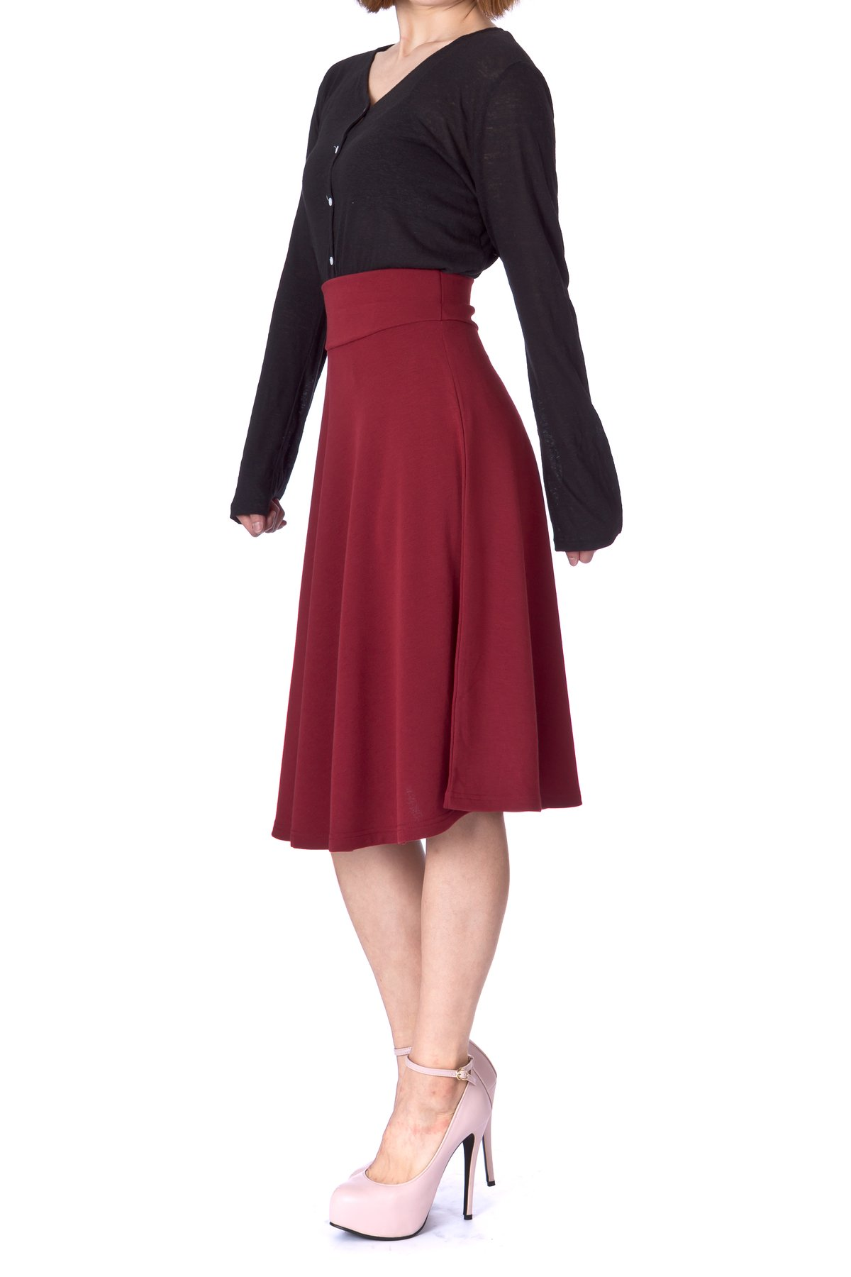 Stretch High Waist A line Flared Long Skirt Burgundy 03