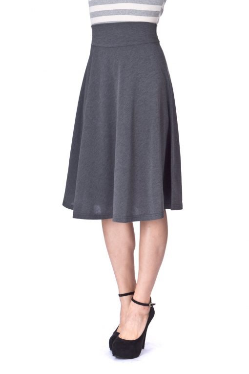 Stretch High Waist A line Flared Long Skirt Charcoal 06