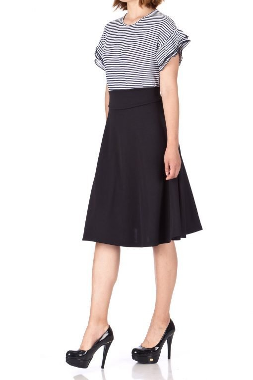 Stunning Wide High Waist A line Full Flared Swing Office Dance Party Casual Circle Skater Midi Skirt Black 01