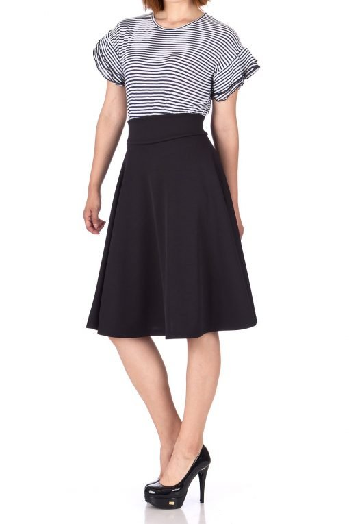 Stunning Wide High Waist A line Full Flared Swing Office Dance Party Casual Circle Skater Midi Skirt Black 03