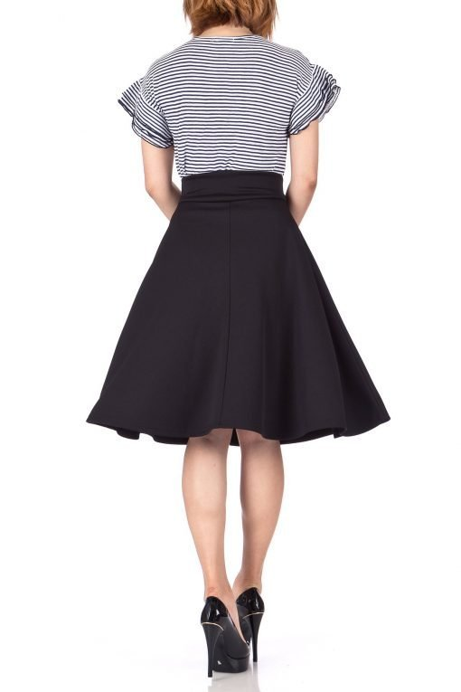 Stunning Wide High Waist A line Full Flared Swing Office Dance Party Casual Circle Skater Midi Skirt Black 04