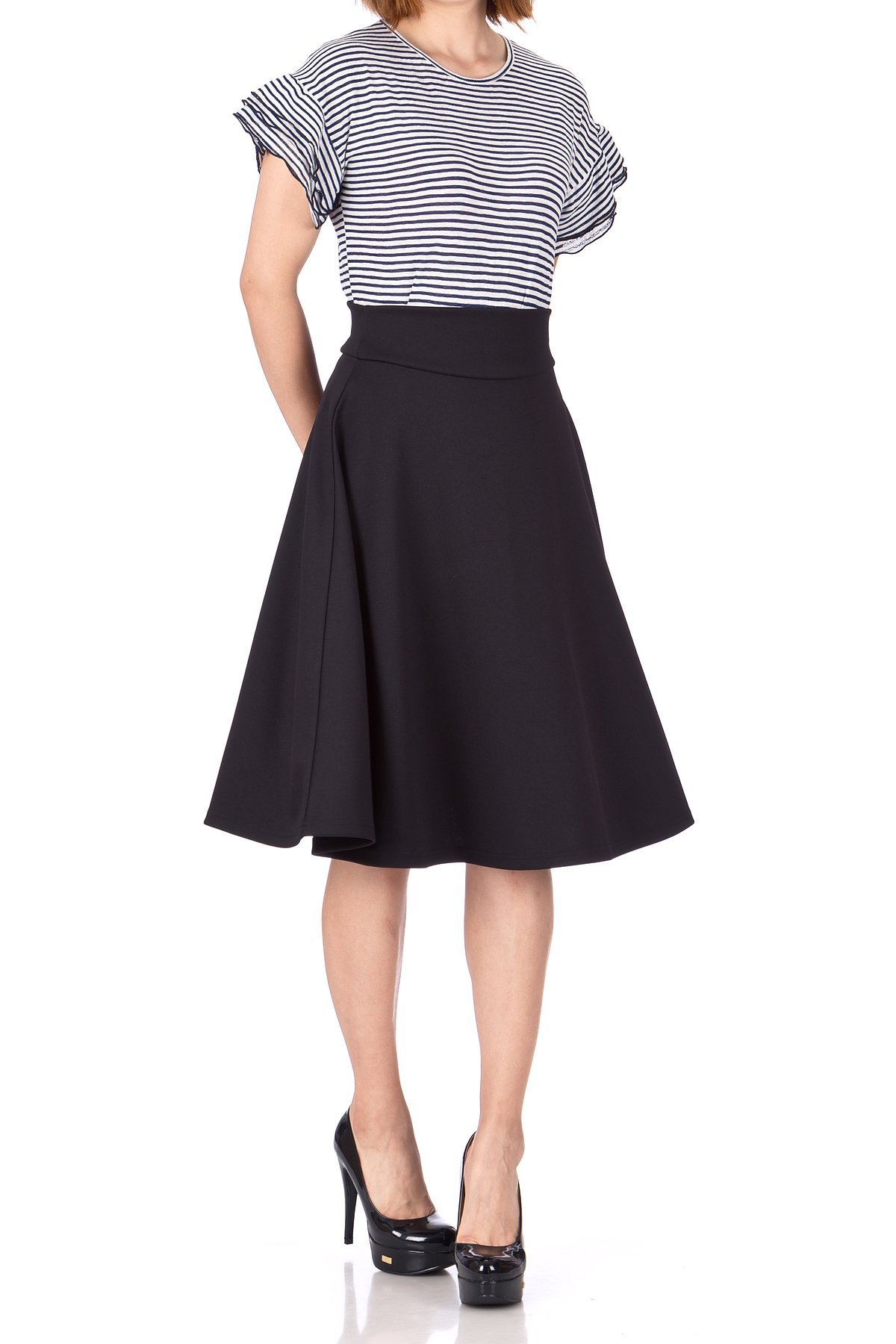 Stunning Wide High Waist A line Full Flared Swing Office Dance Party Casual Circle Skater Midi Skirt Black 05