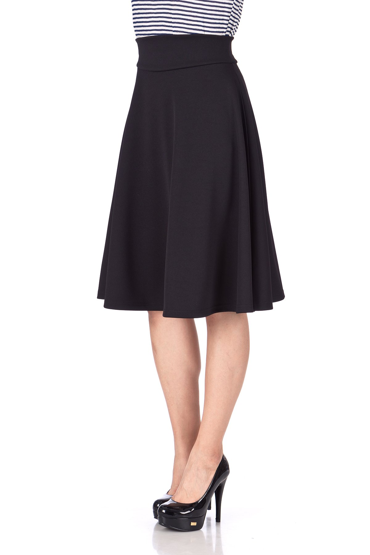 Stunning Wide High Waist A line Full Flared Swing Office Dance Party Casual Circle Skater Midi Skirt Black 06