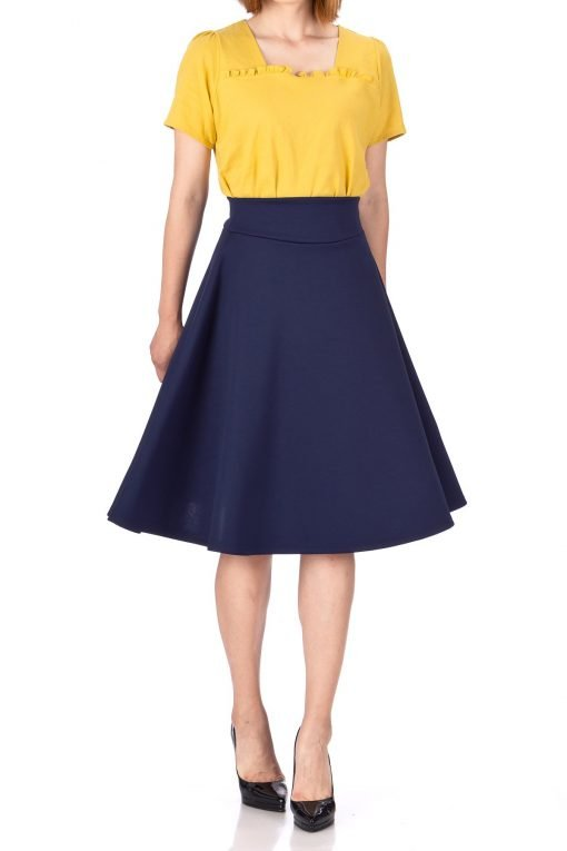 Stunning Wide High Waist A line Full Flared Swing Office Dance Party Casual Circle Skater Midi Skirt Navy 01