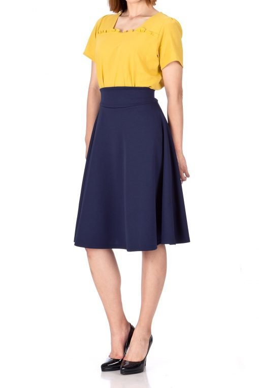 Stunning Wide High Waist A line Full Flared Swing Office Dance Party Casual Circle Skater Midi Skirt Navy 02